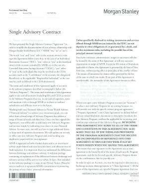 Fillable Online Single Advisory Contract - Morgan Stanley