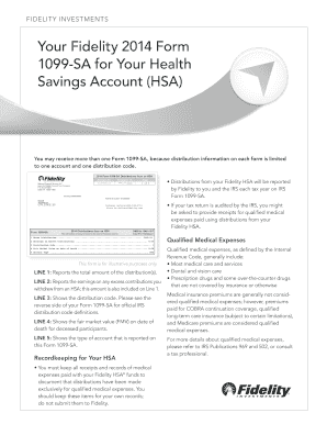 Your Fidelity 2012 Form 1099 Sa For Your Health Savings Fill Online