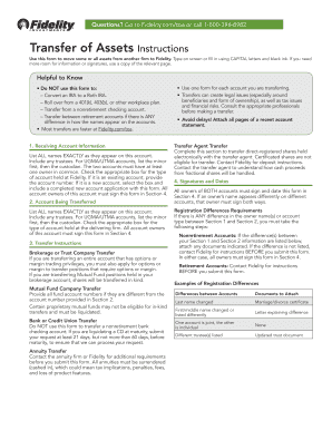Fidelity Transfer Of Assets - Fill Online, Printable, Fillable ...