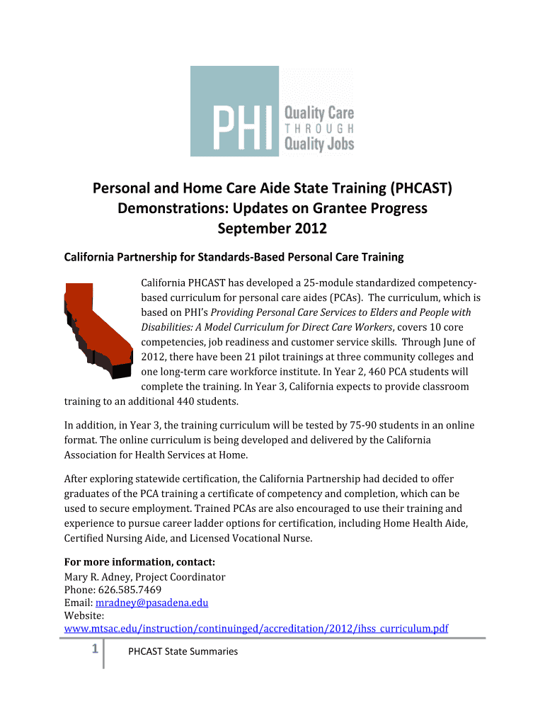 Personal And Home Care Aide State Training Phcast Fill Online