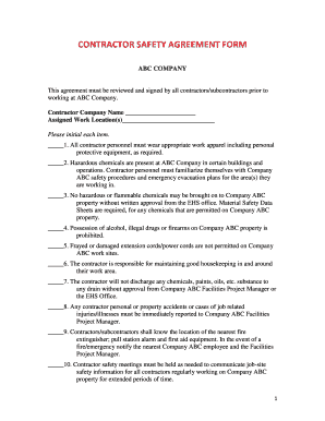 Safety Contract Templates | Safety Agreement Form Ibov Jonathandedecker Com