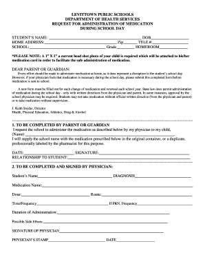 Medication Administration Form - Levittown Public Schools