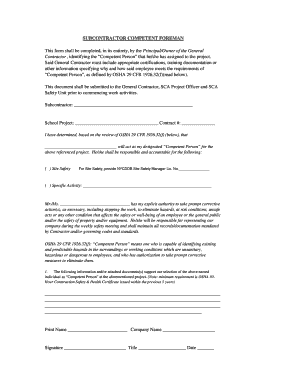 Fillable Online nycsca Form: Subcontractor Competent Foreman ...