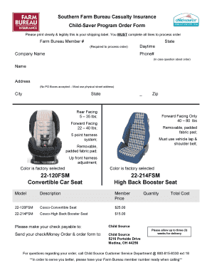 Florida Farm Bureau Booster Seat - Fill Online, Printable, Fillable