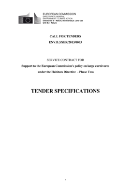 TENDER SPECIFICATIONS - Eurosfaire