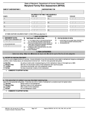 MD Family Risk Assessment Form - Maryland Department of Human ... - dhr state md