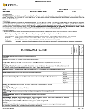 Performance Appraisal Form - Human Resources