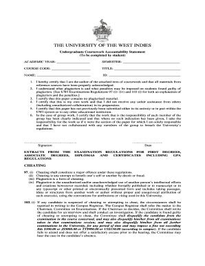 uwi coursework accountability statement