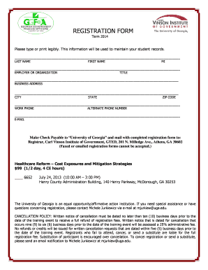 fillable online cviog uga ggfoa registration form carl vinson