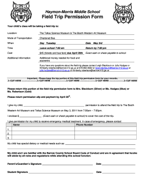 Barrow County Field Trip Permission Form