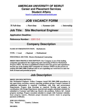 Job Title Site Mechanical Engineer