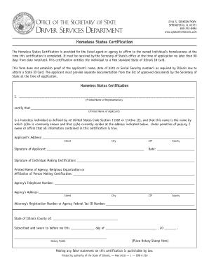 Homeless Status Certificate Spfld Il Fill Online Printable