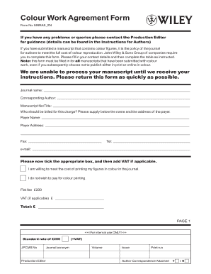 Fillable Online Colour Work Agreement Form Wiley Fax Email