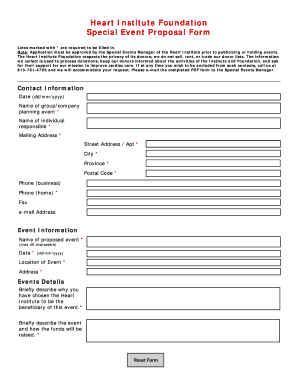 Special Events Proposal Form - University of Ottawa Heart Institute
