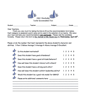 KMHS Cheerleading Teacher Recommendation Form - Cleveland ...