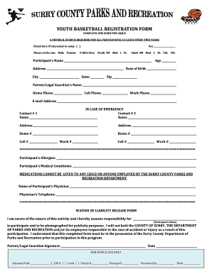 Youth Basketball Online Registration Form - Fill Online, Printable ...