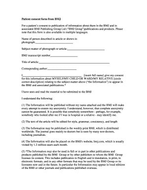 Fillable Online Patient consent form from BMJ For a patient's ...