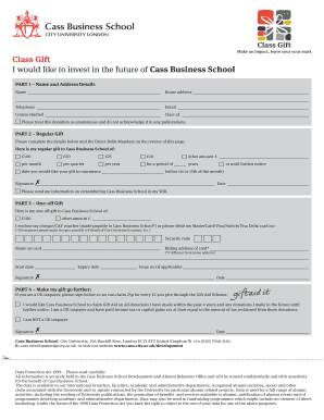 Class Gift donation form - Cass Business School - City University