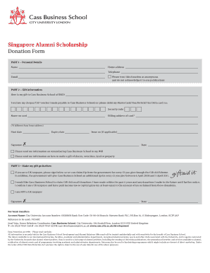 Singapore Alumni Scholarship Donation Form - Cass Business School
