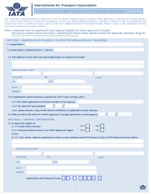 application form for approval as an iata passenger sales agent