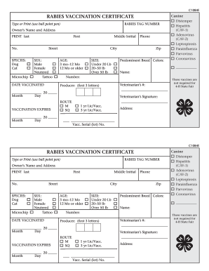 Food coloring chart forms and templates fillable for Rabies vaccine certificate template