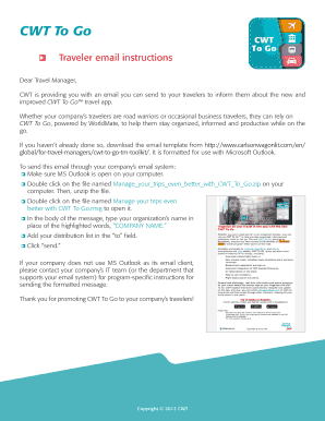 CWT To Go email template - instruction - Carlson Wagonlit Travel