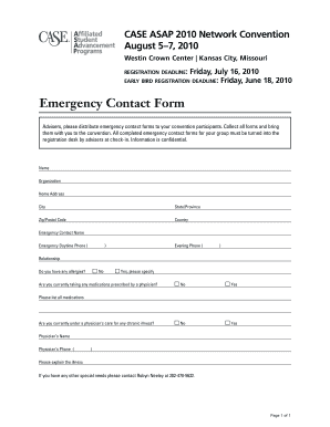 CASE ASAP Emergency Contact Form - case