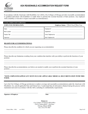 Fillable Online ccc Ada reasonable accommodation request form ...