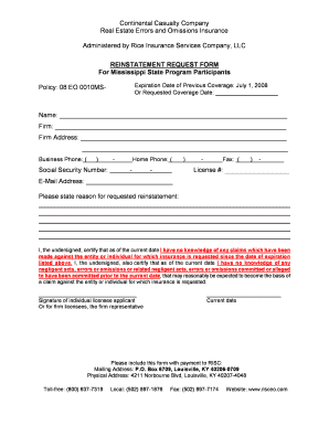 risceo Fillable Online REINSTATEMENT REQUEST FORM For Mississippi State ...
