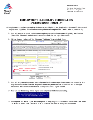 Employment eligibility verification instructions (form i-9) - mountsinai