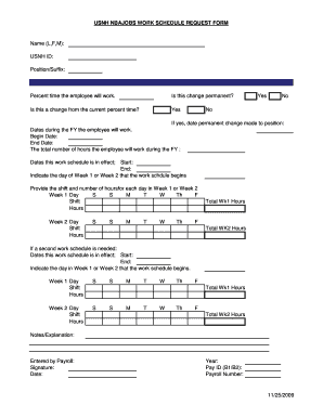 USNH NBAJOBS WORK SCHEDULE REQUEST FORM Name (L,F,M)