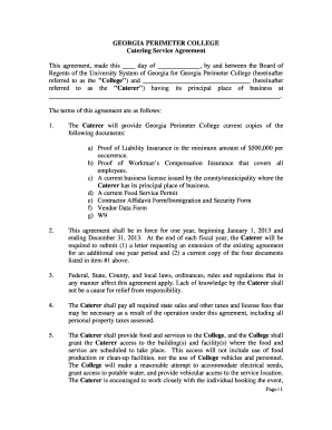 Approved Caterers Agreement Form - Georgia Perimeter College