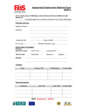 Fillable Online fas Supported Employment Referral Form (SUP1) - F ...