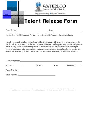 Fillable Online waterloo k12 ia Talent Release Form-Alumni ...