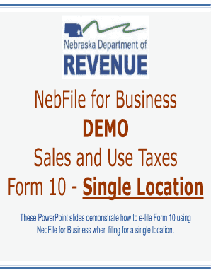 Fillable Online NebFile for Business DEMO Sales and Use Taxes Form ...