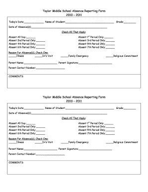 Fillable Online aps Taylor Middle School Absence Reporting Form ...