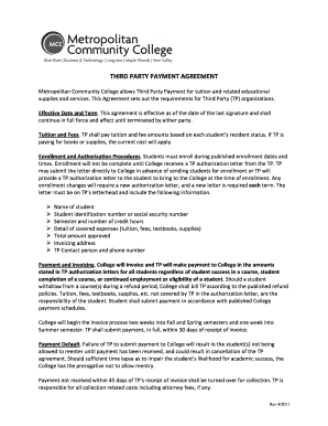 Third Party Payment Agreement Metropolitan Community College Fill