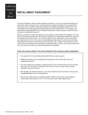 Fillable Online Ftb 3561 Booklet Installment Agreement Form