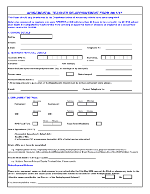 teacher appointment form 20162017 fill online printable fillable