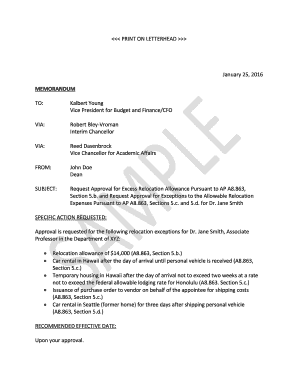 Sample Relocation Exception Request Memo (PDF) - University of ... - manoa hawaii