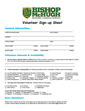 2015-2016 Volunteer Sign-Up - Bishop McHugh Regional School