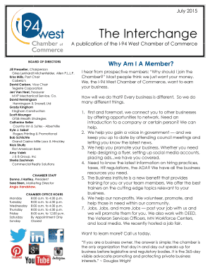 July 2015 Mailing Newsletter - I-94 West Chamber of Commerce