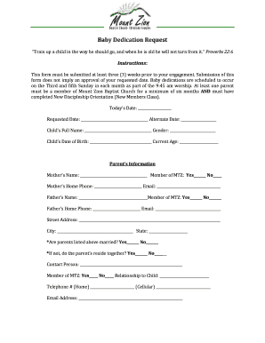 Baby dedication form - mountstlouisorg