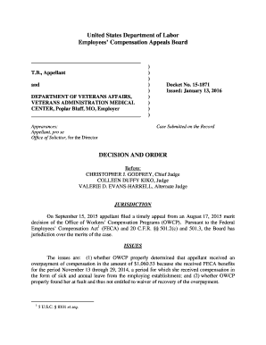 , Appellant and DEPARTMENT OF VETERANS AFFAIRS, VETERANS ADMINISTRATION MEDICAL CENTER, Poplar Bluff, MO, Employer ) ) ) ) ) ) ) ) ) Appearances: Appellant, pro se Office of Solicitor, for the Director Docket No