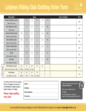 clothing order form template excel fillable printable top size
