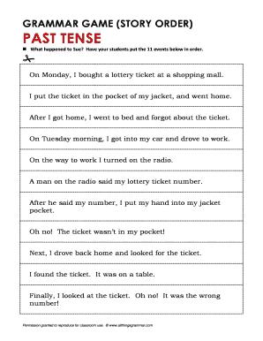 Grammar Game Story Order Past Tense Fill Online Printable Fillable Blank Pdffiller