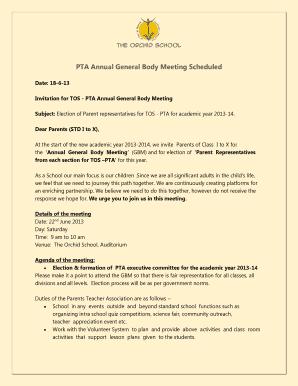 Fillable Invitation To Pta General Meeting Edit Online Print