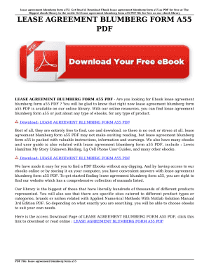 Printable Blumberg Lease Agreement Pdf Edit Fill Out Download