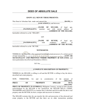 deed of absolute sale lamudi fill online printable fillable