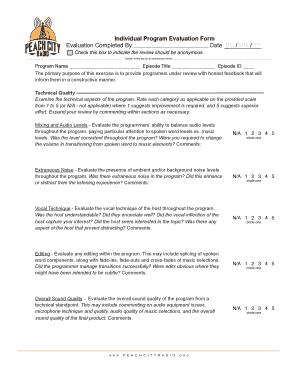 Individual Program Evaluation Form Evaluation Completed By